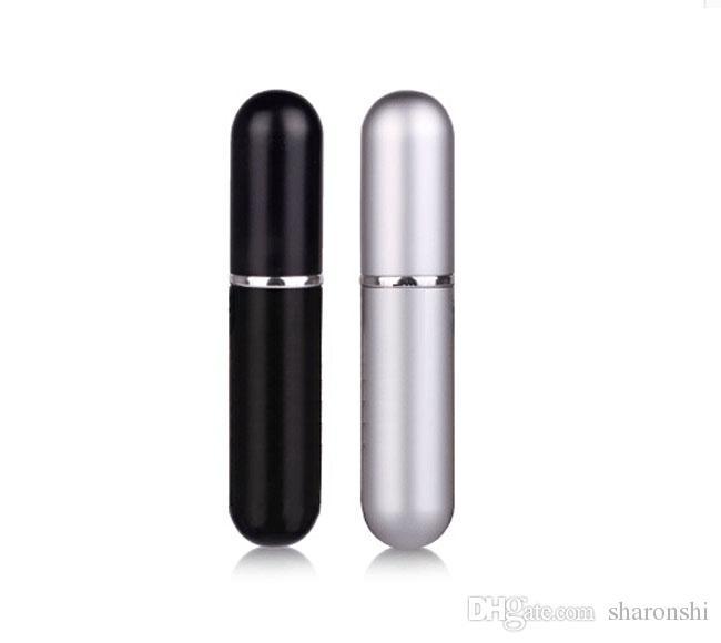 Partihandel 100st 5 ml Svart / Silver Refillerbar Tom Atomizers Travel Perfume Bottle Spray Makeup Aftershave Metal Bottle DHL Gratis frakt