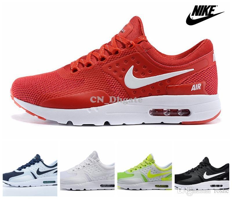 Compre Nike Air Max Cero Antes Del Uno Rojo Blanco Azul Negro Multi Color  De Los Zapatos Corrientes Para Los Hombres 6adf199bdda