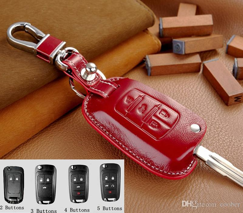Genuine Leather Key Fob Cover for Chevrolet Cruze Malibu Equinox Impala  Chevy Flip Folding Key Holder Keyless Remote Control Case