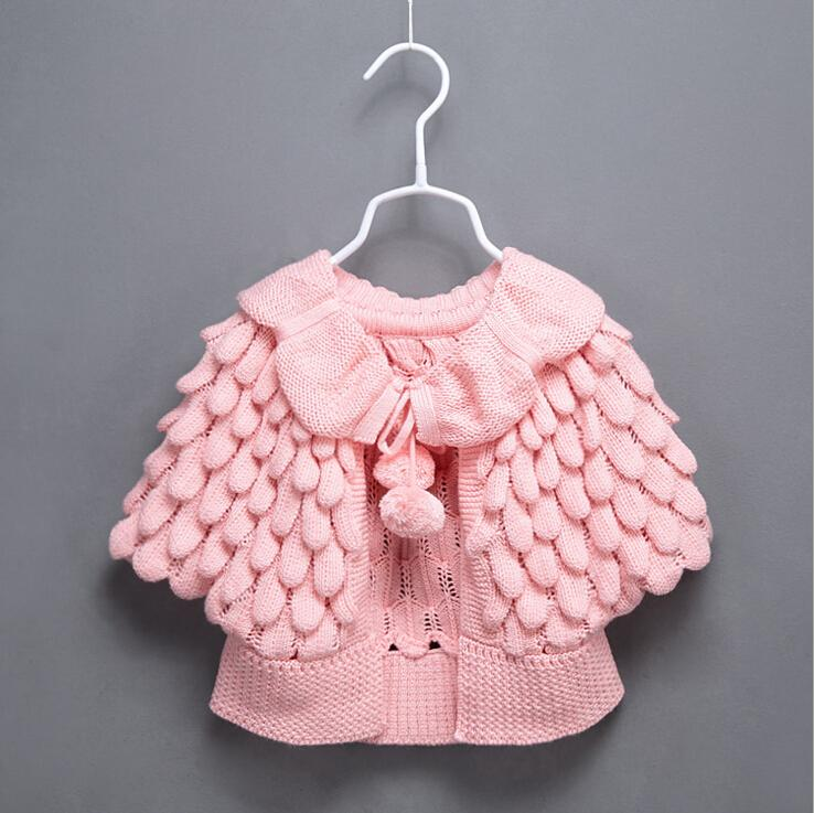 a9cf08cb4608 Kids Knit Puff Cardigan Baby Girl Batwing Poncho Babies Fall Winter ...