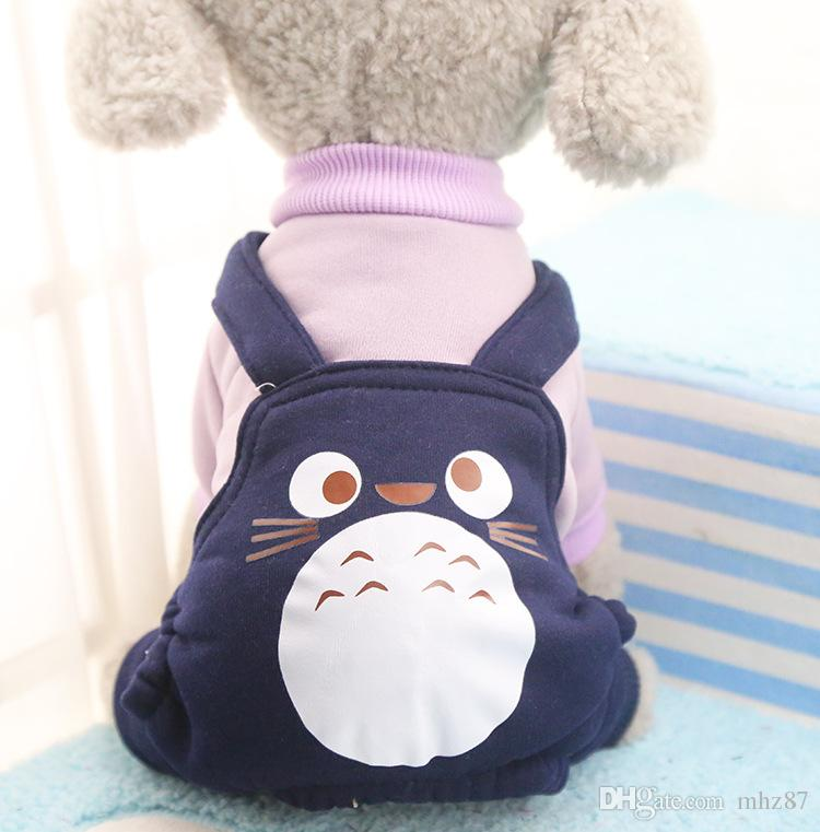 High Quality Fleece Cute Totoro Pet Cat Clothing Dog Costume Apparel Dog Jumpsuit Pants Puppy Winter Coat Hoodies