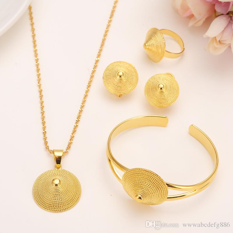 14k Solid Fine Gold Filled Necklace hat Pendants Earrings Ring Bangle Set Eretrian African Abyssinia Ancient jewelry set
