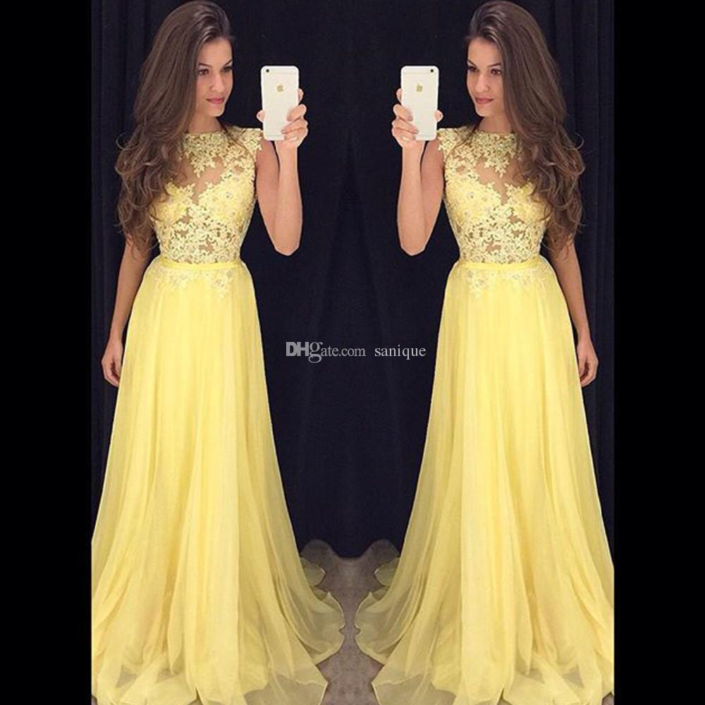 Großhandel Fantastische Gelb Chiffon Lange Abendkleid Elegante 12  Schnelle Versand Spitze Durchschauen Abendkleider Party Vestido De Festa  Von