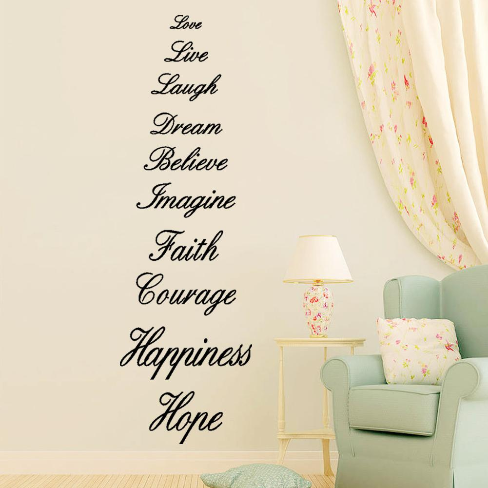 Love Live Laugh Dream Believe Imagine Faith Courage Happiness Hope English  Proverb Wall Quote Decal Sticker English Words Wall Decor Decals Stickers  Decals ...