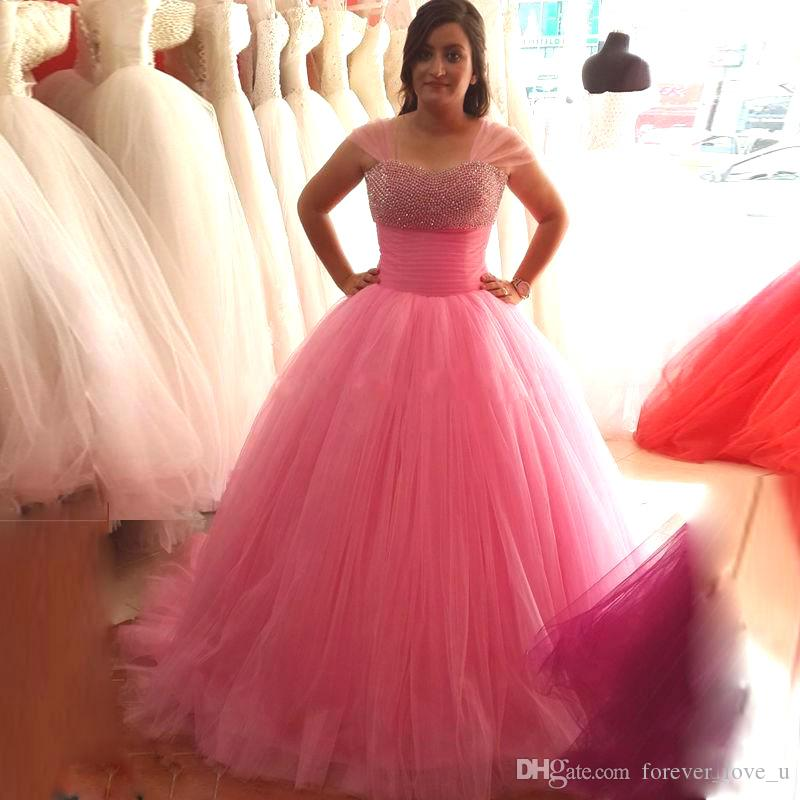 Discount Stunning Pink Wedding Dresses Puffy Ball Gown Small ...