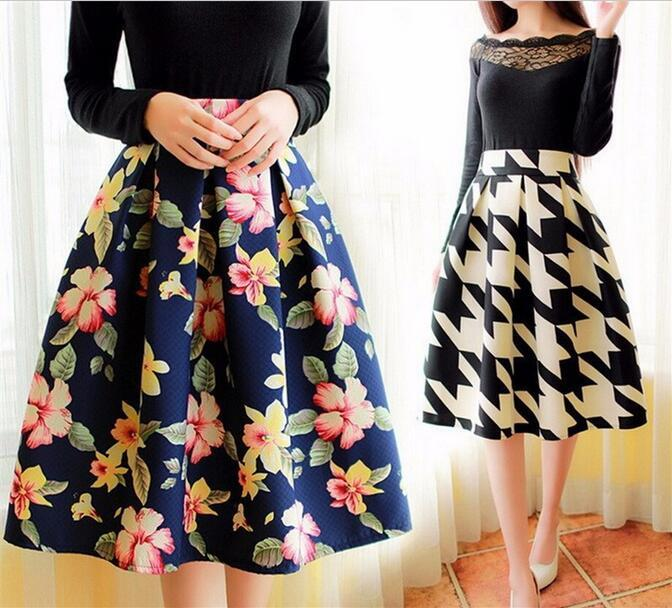 Best High Waist Pleated Midi Skirt Women Houndstooth Floral Print ...