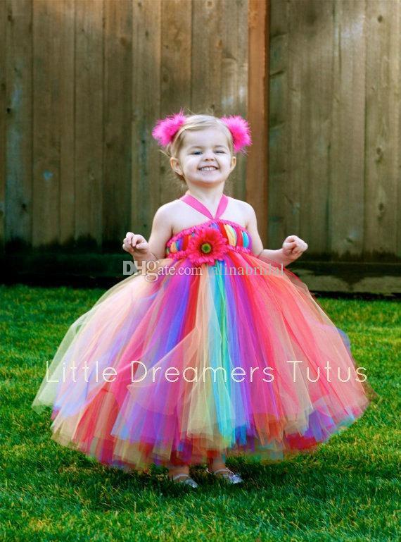 Abiti colorati ragazze in fiore arcobaleno Scollatura al ginocchio Lunghezza caviglia colorata Tulle Ball Gown Little Kids Baby Girls Pageant Dress Party Gowns