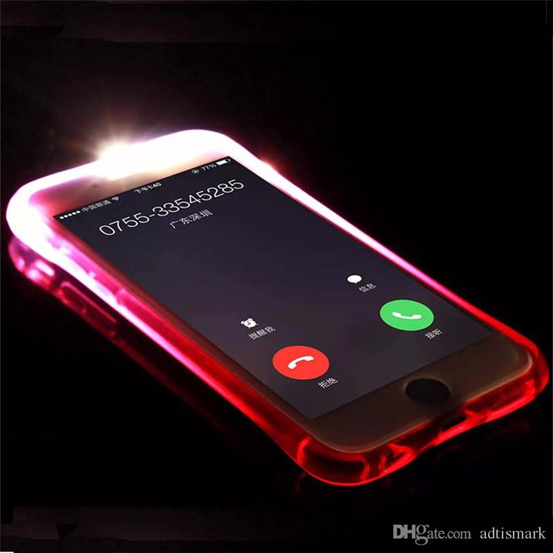 Phone Back Case Fundas TPU+PC LED Flash Light Up Case Remind Incoming Call Cover for iPhone X 8 7 SE 6 6S Plus Samsung S7 S6 Edge Note 5