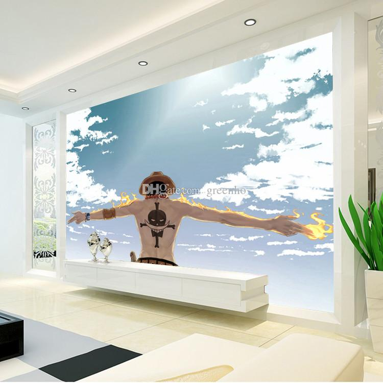 Awesome Japanese Anime Wallpaper One Piece Photo Wallpaper Blue Sky Wall Mural Boys  Kid Bedroom Living Room Cartoon Room Decoration Home Decor Fire Part 28