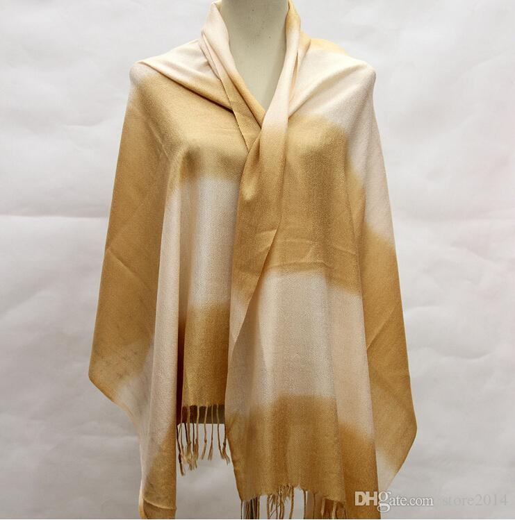 winter New fashion Double color gradient Pashmina Cashmere Solid Shawl Wrap Women's Girls Ladies Scarf Soft Fringes Scarf