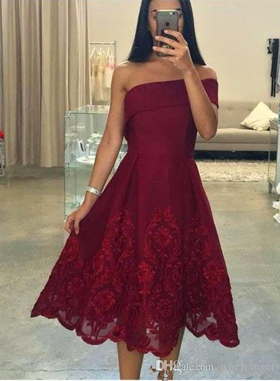 0a10ff655117 2018 Knee Length Burgundy Cocktail Dresses Short One Shoulder Classic  Vintage Satin Arabic Lace Party Dresses Formal Evening Prom Gowns Boutique  Cocktail ...