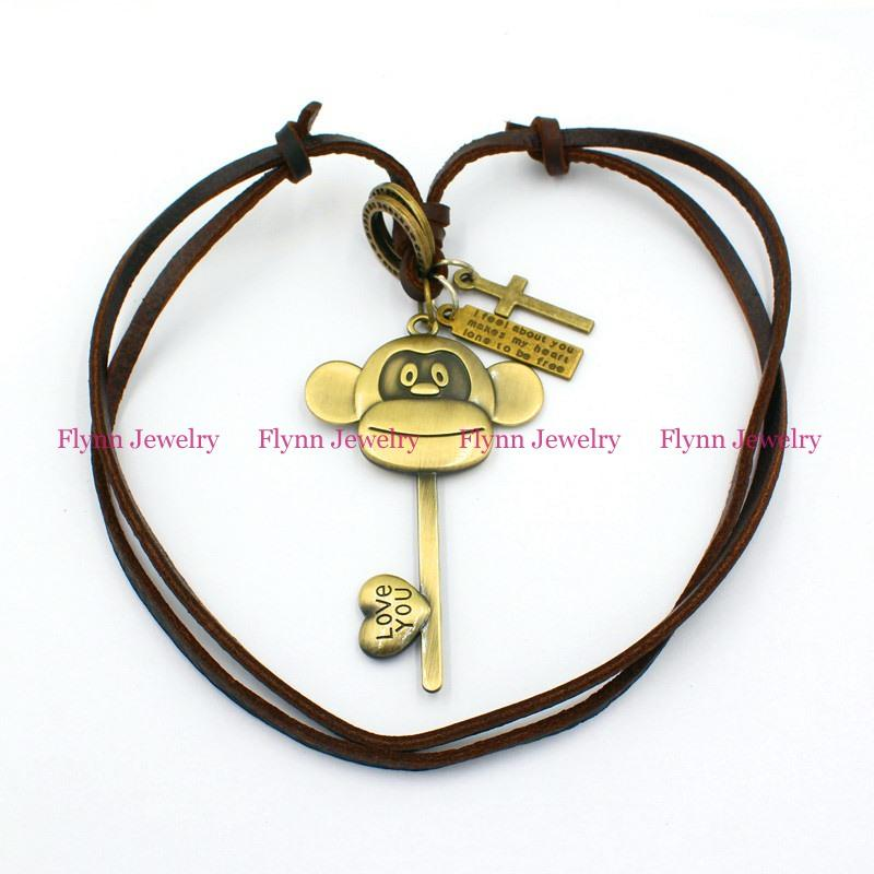 Little monkey Key Accessories Metal Pendant Amulet Adjustable Leather Necklace Punk Cowboy Decorations Gift