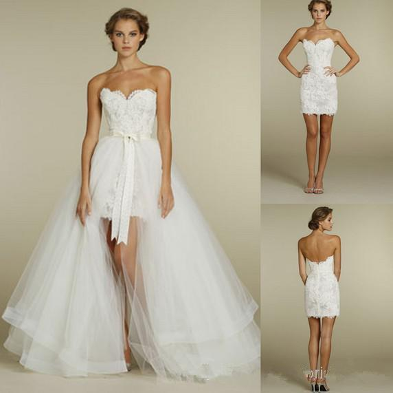 Wedding Dresses With Detachable Tail: Discount Detachable Tail 2015 Lace Wedding Dresses
