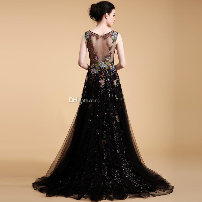 model pictures Saudi Arabia Middle East sexy illusion heavily embroidery beaded sequin evening dresses 2018 scoop neckline formal gowns 085