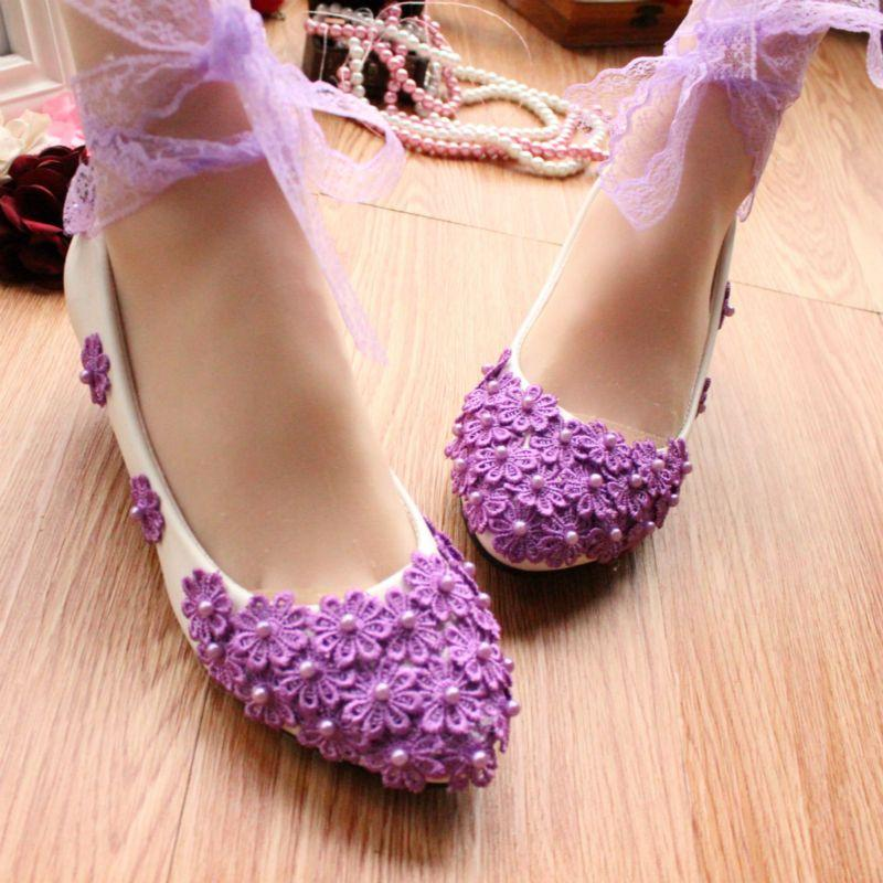 Purple Lace With Colorful Performance Shoes Photo Wedding Bride Bridesmaid Hand Flat Pregnant Women For WomenS 05 Suede Pumps From