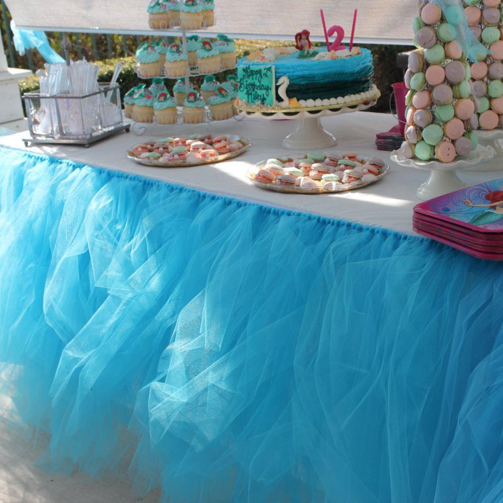 Blue Custom-made Tulle Tutu Table Skirt Chair Sashes Wedding ...