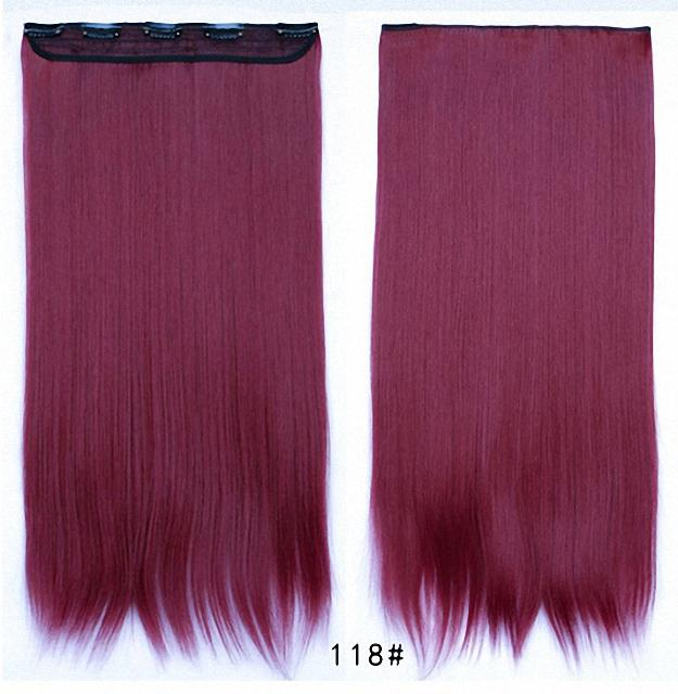 Feshfen one piece clip in hair extensions dark plum red straight see larger image pmusecretfo Images