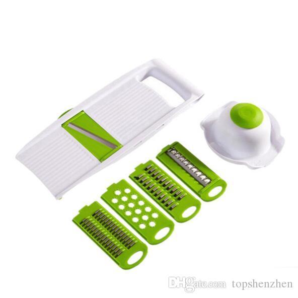 5 en 1 Multi-función Plástico Vegetal Cortadoras de Frutas Cortador Ajustable Hojas de Acero Inoxidable ABS Pelador Rallador Rebanador