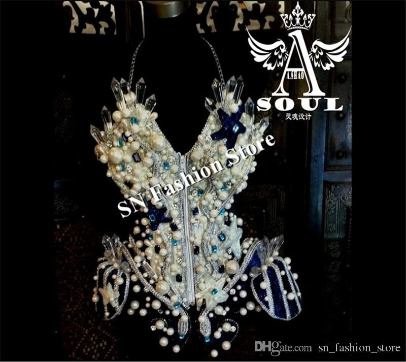WX52 Ballroom dance led light costumes dresses Bar party bra mirror cloth colorful light catwalk singer stage show cosplay wears