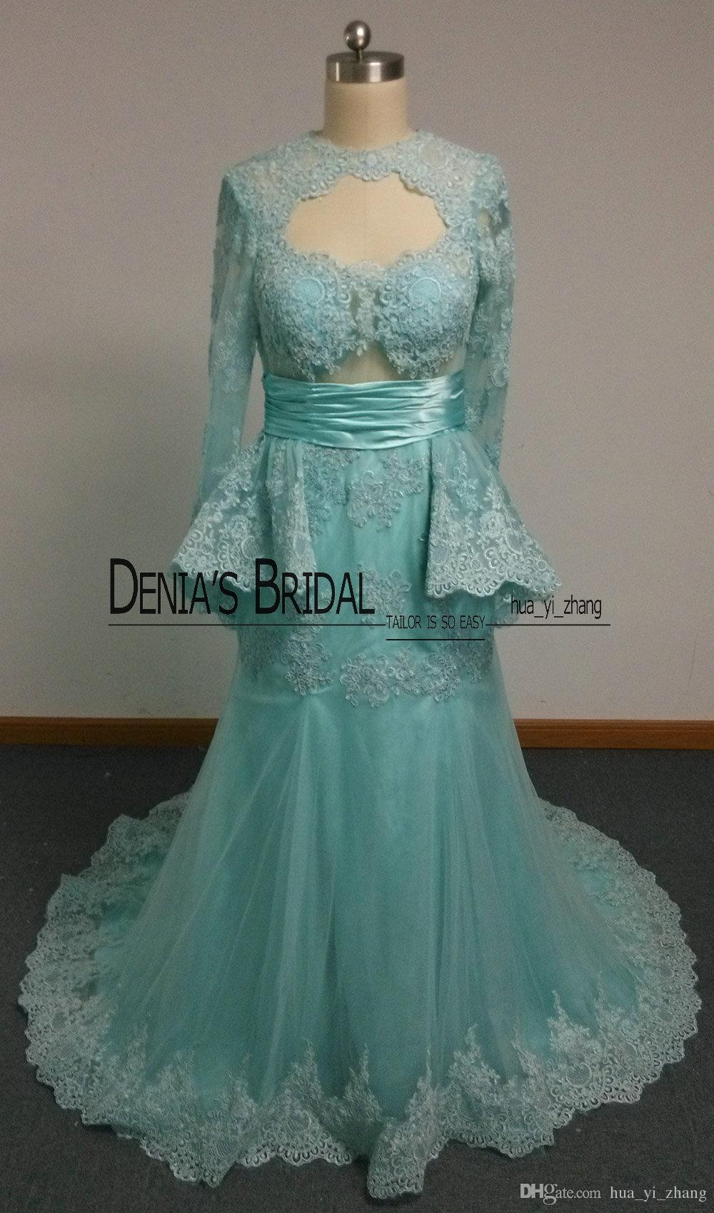 Real Prom Dresses with Keyhole Neck and Illusion Long Sleeves and Peplum Mermaid Lace Appliqued Court Train Evening Gowns Dhyz 01