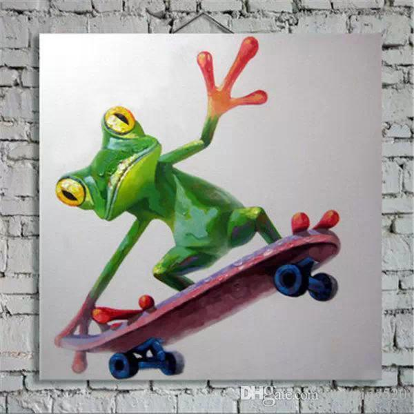 Shopping Frog Hand painting Oil Painting On Canvas Large Abstract Cartoon Paintings Wall Decoration JL1001
