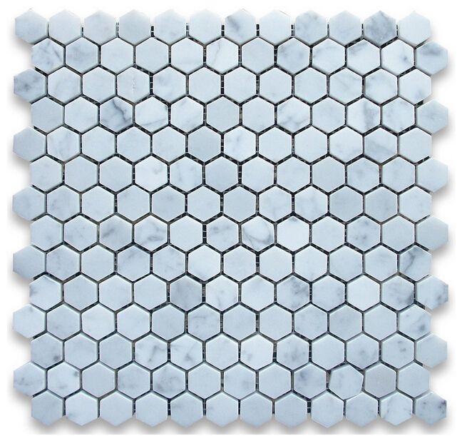 1 polegada telha itália bianco carrarra branco telha de mármore hexagonal mosaico de azulejos de parede montada malha telhas de mármore última última moda de beleza home decor