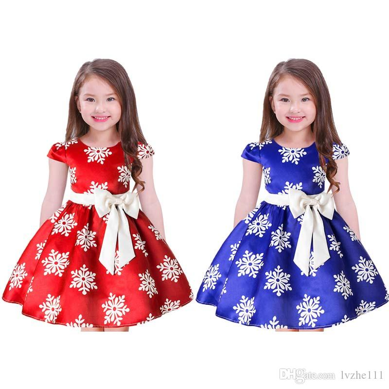 5f6ba765c7f40 2019 Christmas New Baby Kids Girls Bowknot Snows Printed Wedding Xmas Party  Dress 2 Colour 7 Size From Lvzhe111, $13.05 | DHgate.Com