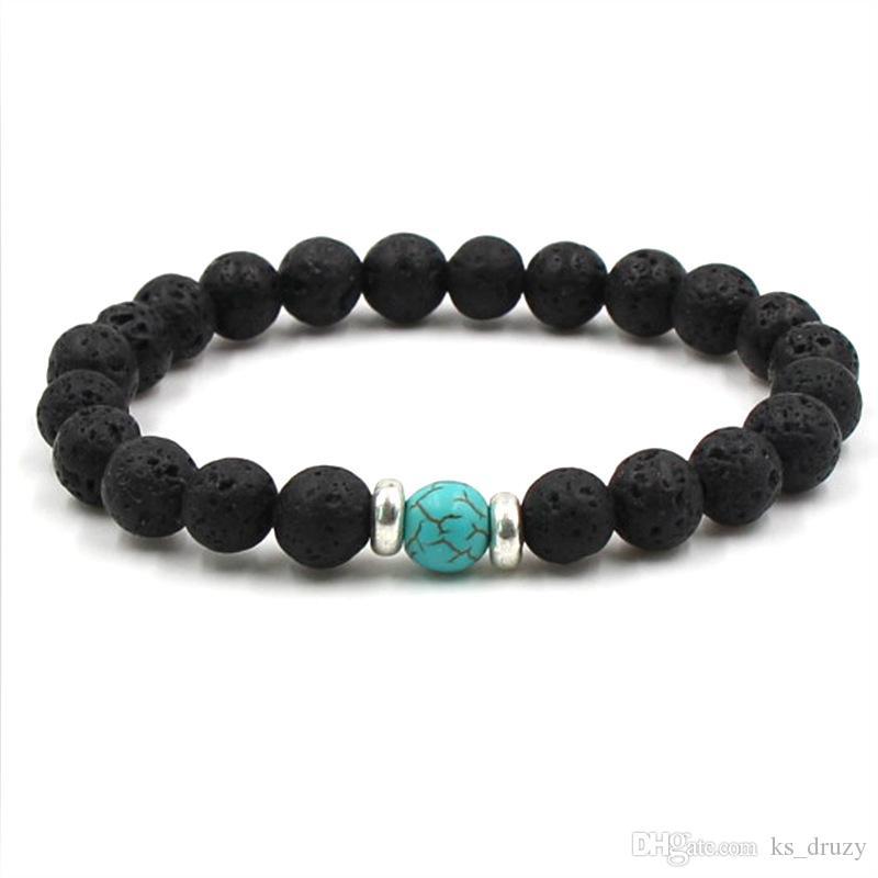 19 styles naturel pierre de lave noire chakra perles bracelet élastique bracelet huile essentielle diffuseur bracelet pierre volcanique perlé