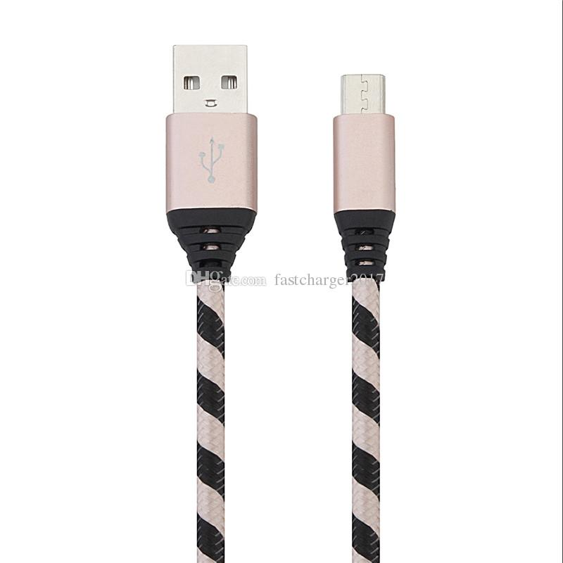 Fabric braided cable 1m 2m 3m nylon Alloy micro 5pin type c quick charging data usb cable for samsung s6 s7 edge s8 htc android phone 7 8