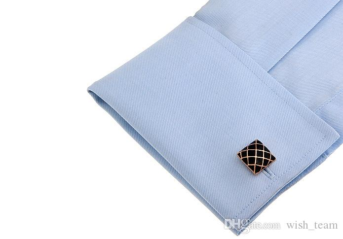 Square shaped Golden Mesh cufflinks for mens copper cufflink wedding Cuff Link Fashion Jewelry Best Xmas Gift High Quality