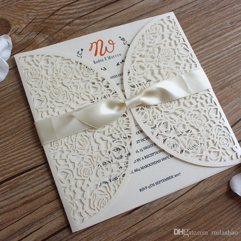 Customize Rose Wedding Invitation Card White Laser Cutting