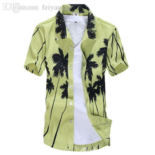 b75ae06457f 2018 Wholesale Brand 2016 Men S Hawaiian Shirts Fashion Cotton Printed  Beach Print Short Sleeved Surfing Quick Drying Shirt Male ST22  From  Feiyancao