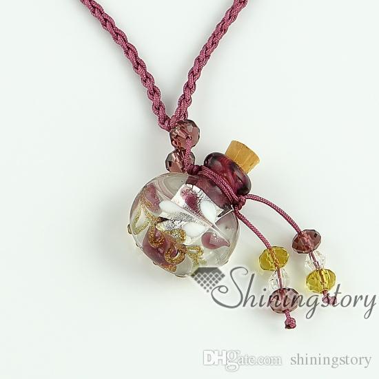 ätherisches Öl Diffusor Halskette leere kleine Glasfläschchen Halskette Anhänger Großhandel Lieferant italienische Murano Glas Folie Schmuck