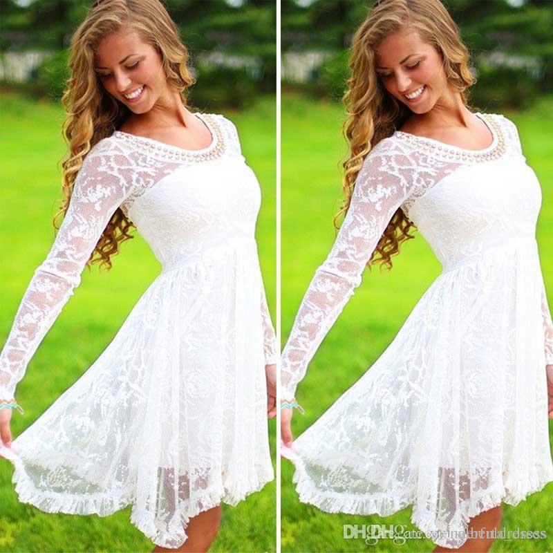 Manches longues robes de bal en dentelle blanc court au genou longueur robes semi-formelles