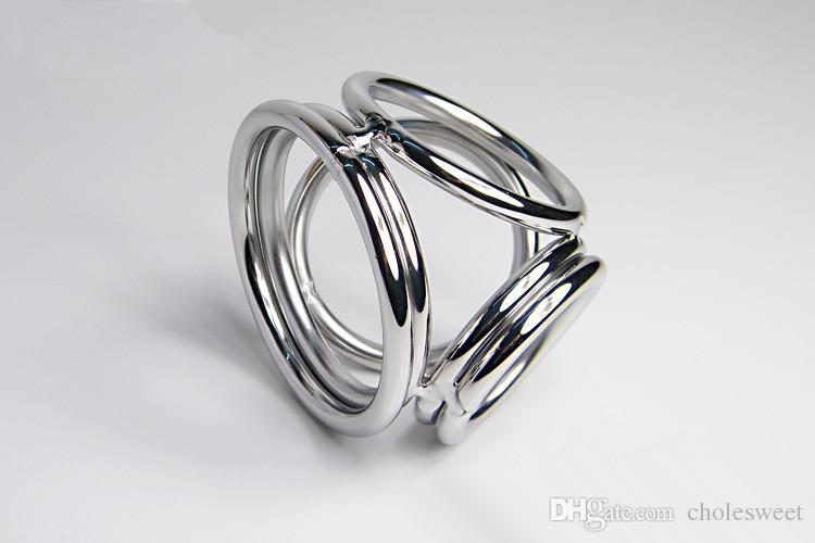 4 in 1 four cock rings lock ring Cock Ring Metal Cockring for Man glans ring dick ring 304 steel