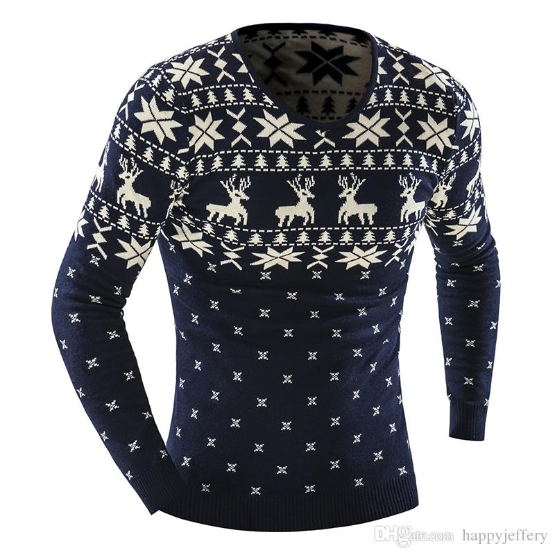 2018 Winter Pullover Men Christmas Elk Sweater Jumper V Neck Deer