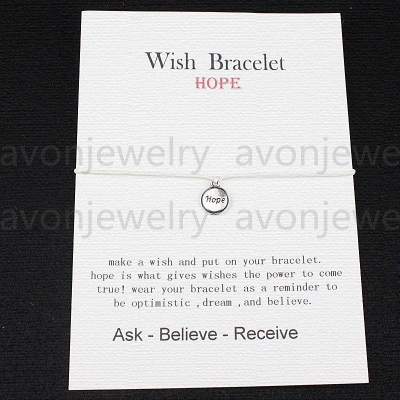 2016 new fashion Wish bracelet - hope good luck gift Card with Friendship Charm String cord DIY handmade bracelet customizable