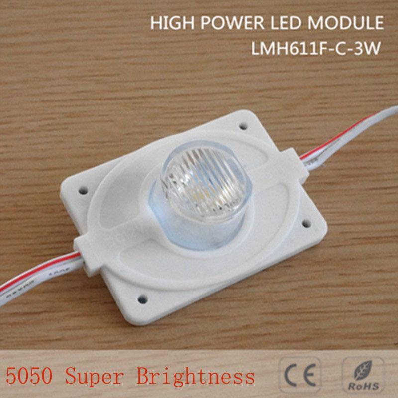 100 stks DC12V High Power Waterdichte LED-module 3W met injectie Len 1LED, wit, 3W voor dubbelzijdige lightbox hoge helderheid