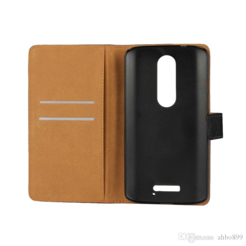 Wholesale High Quality Genuine Leather Wallet Cover Case with Card Holder and Stand TV Function For Motorola Moto X Force/Droid Turbo 2