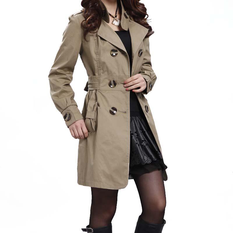 huge discount 7d329 735b3 Plus Size Trench coat doppio petto Shell Button vita regolabile Moda Slim  lungo cappotto donna in autunno nero kaki bianco
