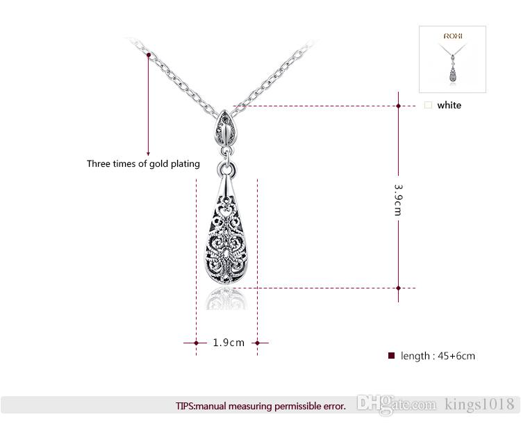 ROXI Christmas Gift Genuine Austrian crystals Necklace White Gold Plated Tears Pendant Fashion Statement Jewelry Women Party