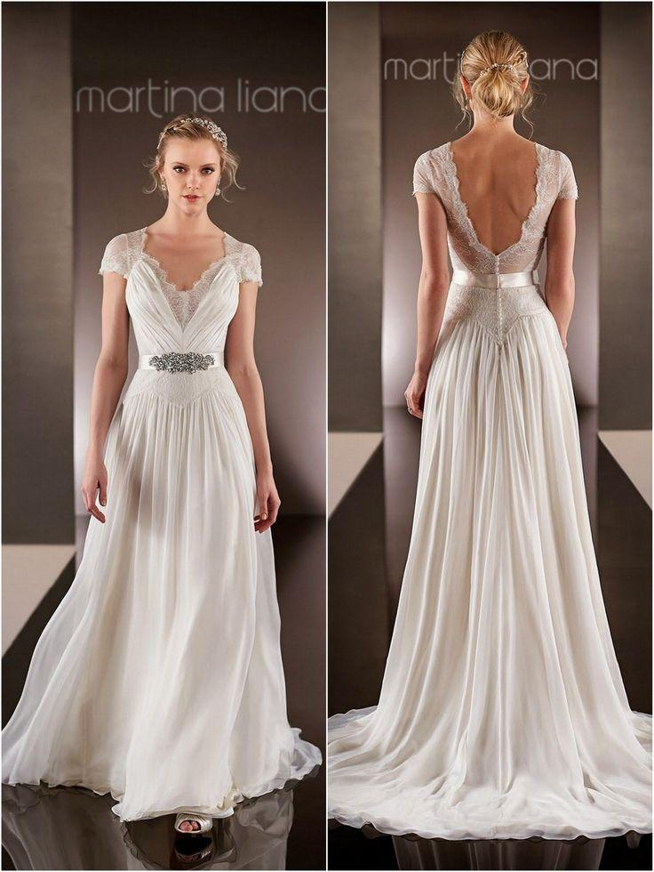 ba3a421bc35 Discount Vintage Wedding Dresses 2015 V Neckline Beaded Sequins A Line Lace  Bridal Dress Short Sleeves Backless Chiffon Wedding Gowns Custom Made Cheap  Lace ...