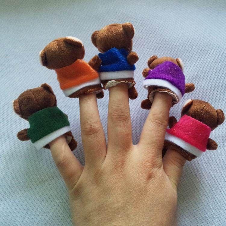World Nursery Rhyme-Five Little Monkeys Swing In A Tree Plush Finger Puppets For Kids/Students Talking Props