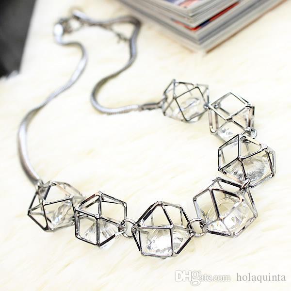 Collier de déclaration de cristal géométrique femmes collares 2017 nouveau cadeau de gros de bijoux à la mode