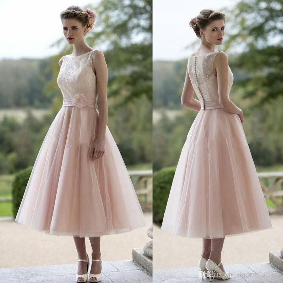 2016 blush pink bridesmaid dresses bateau soft tulle lace a line 10 ombrellifo Images