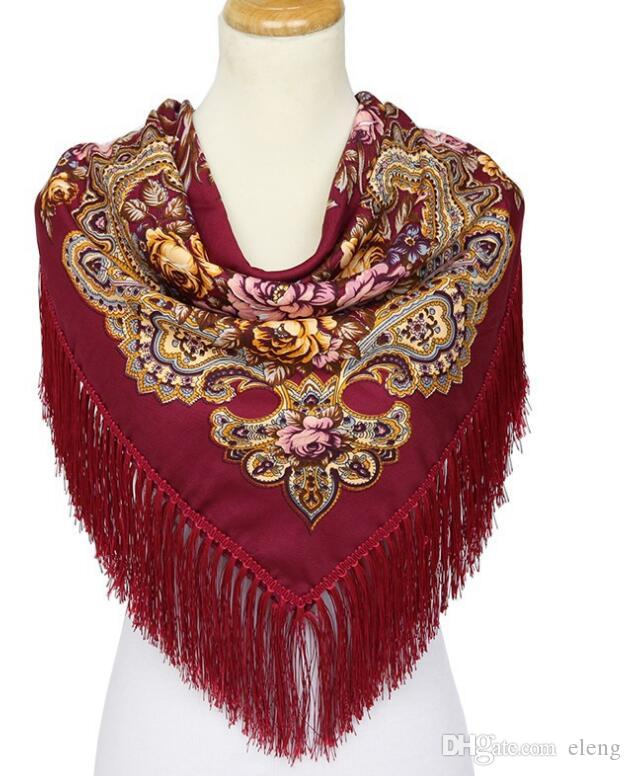 HOT Sale Russian Brand New Fashion Big Size Square Scarf Cotton Long Tassel Print Scarf in Spring Winter Shawl For Women 108
