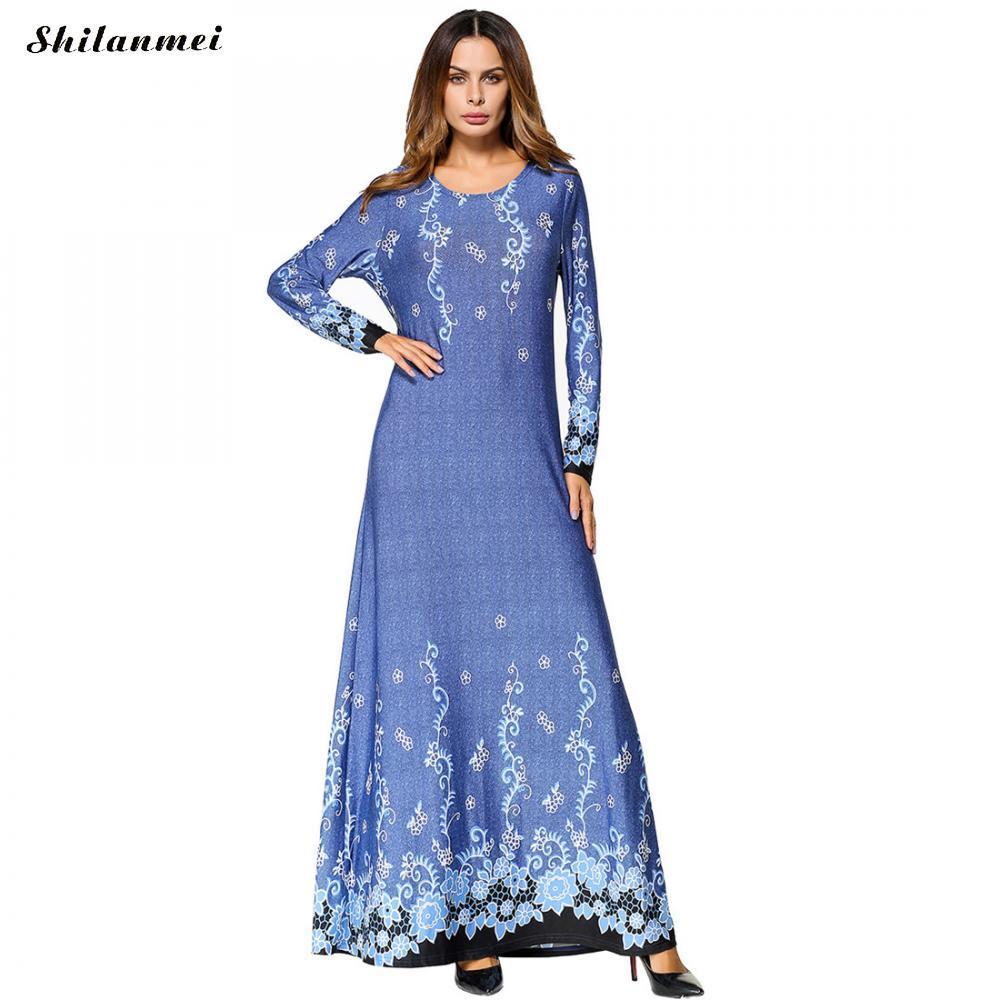 Großhandel Elegante Frauen Oversized Herbst Und Winter Kleid Blau ...