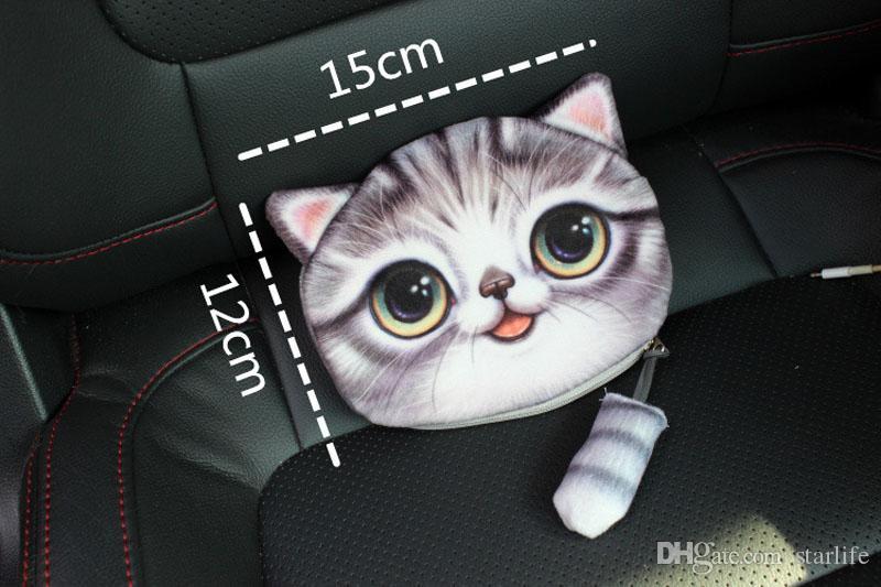 동전 지갑 지갑 숙 녀 3D 인쇄 고양이 개 동물 큰 얼굴 변경 여자를위한 패션 귀여운 작은 지퍼 가방