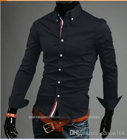 algodón adelgazan las camisas de manga larga de los hombres a manera de la llegada 9007 vestido con estilo apto M-3XL