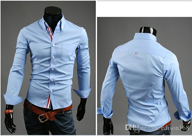 coton mince de nouveaux hommes de mode d'arrivée des chemises à manches longues robe élégante adaptent 9007 M-3XL